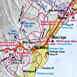 Hawaiian Islands Road and Shaded Relief Tourist Map (including Maui), America.