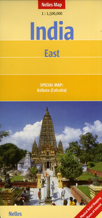 India, East, Road and Shaded Relief Tourist Map.