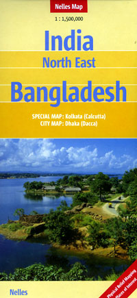 India, North East, and Bangladesh, Road and Shaded Relief Tourist Map.