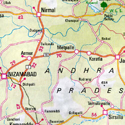 India, West, Road and Shaded Relief Tourist Map.