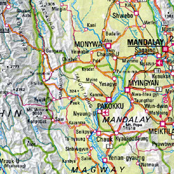 Indian Subcontinent, Road and Shaded Relief Tourist Map.