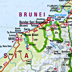 Indonesia Road and Shaded Relief Tourist Map.