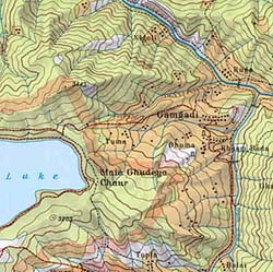 Jumla and Rara Lake, Road and Tourist Map, Nepal.