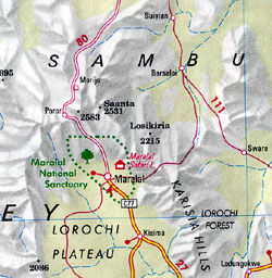 Kenya Road and Shaded Relief Tourist Map.
