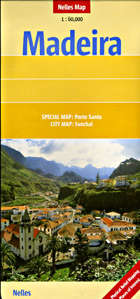 Madeira Island, Road and Shaded Relief Tourist Map, Portugal.