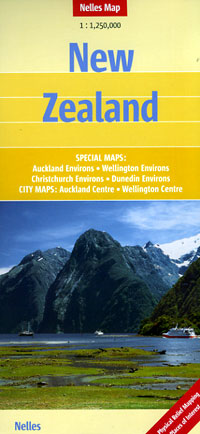 New Zealand, Road and Shaded Relief Tourist Map.