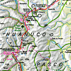 Peru and Ecuador, Road and Shaded Relief Tourist Map.