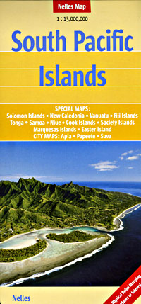 South Pacific Islands, Road and Shaded Relief Tourist Map.