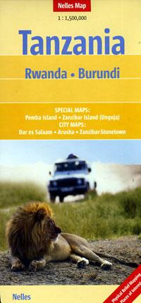Tanzania, Rwanda, and Burundi, Road and Shaded Relief Tourist Map.