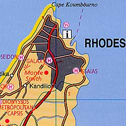 Rhodes Island, Road and Shaded Relief Map, Greece.