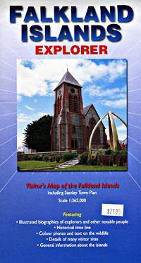 Falkland Islands, Road and Tourist Map, United Kingdom.