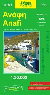 Anafi, Road and Tourist Map, Greece.
