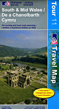 Wales, South, Road and Shaded Relief Road Maps, United Kingdom.