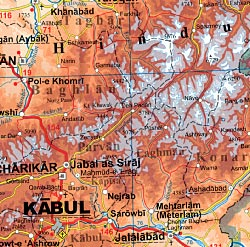 Afghanistan Road and Physical Tourist Map plus Kabul and Cities.
