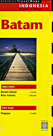 Batam and Bintan Islands, Road and Tourist Map, Indonesia.