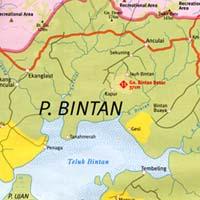 Bintan Islands, Road and Tourist Map, Indonesia.