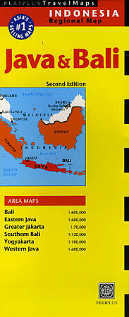 Java and Bali Road and Shaded Relief Tourist Map, Indonesia.