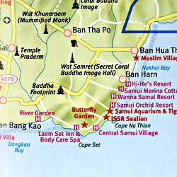 Ko Samui (Samui Island) and Southern Thailand, Road and Tourist Map.