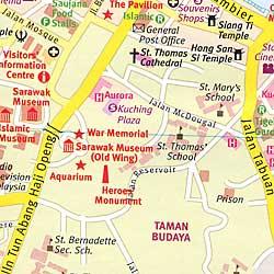 Sarawak State, Road and Tourist Map, Malaysia.