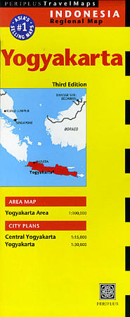 Java, Central (Yogyakarta), Road and Shaded Relief Tourist Map, Indonesia.