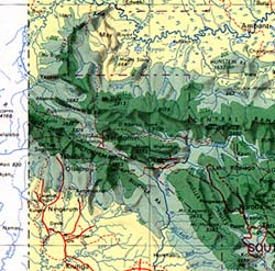 Papua New Guinea, Road and Shaded Relief Physical Tourist Map.