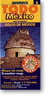 Gulf of Mexico, Regional Road and Tourist Map, Mexico.