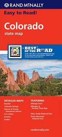 """Colorado """"Easy To Read"""" Road and Tourist Map, America."""