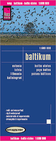 Baltic States, Road and Topographic Tourist Map.
