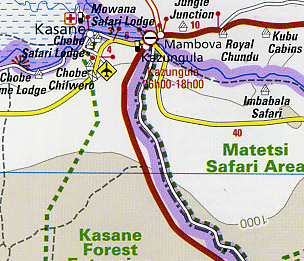 Botswana Road and Topographic Tourist Map.