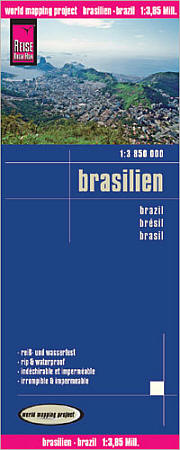 Brazil Road and Topographic Tourist Map.
