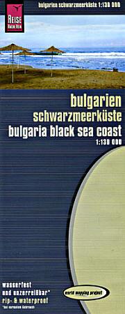 Bulgarian Black Sea Coast, Road and Topographic Tourist Map, Bulgaria.