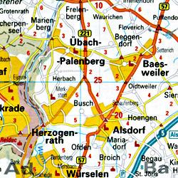 Cologne (Koln) Regional Road Map, Germany.