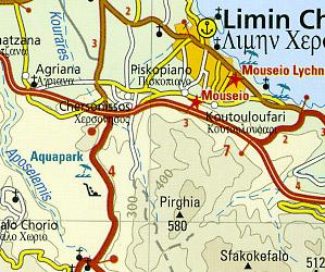 Crete Road and Topographic Tourist Map.