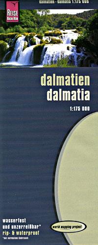 Dalmatian Coast, Road and Topographic Tourist Map, Croatia.