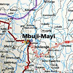 Congo Democratic Republic, Road and Topographic Tourist Map.