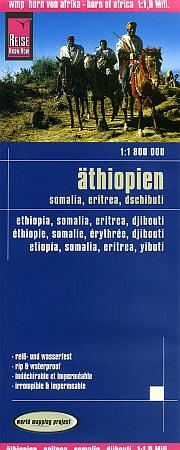 Ethiopia, Somalia, Eritrea and Djibouti, Road and Topographic Tourist Map.