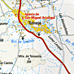 Fuerteventura Island, Road and Topographic Tourist Map, Canary Islands, Spain.
