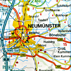 Germany, Northeast and Baltic Sea Coast, Road and Topographic Tourist Map.