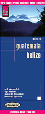 Guatemala and Belize Road and Topographic Tourist Map.
