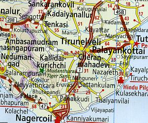 India, Nepal, and Sri Lanka, Road and Topographic Tourist Map.