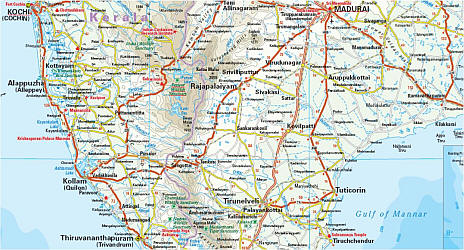 India, Southern, Road and Topographic Tourist Map.