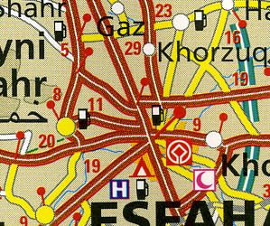 Iran Road and Topographic Tourist Map.