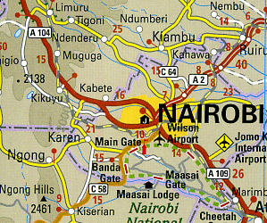 Kenya Road and Topographic Tourist Map.
