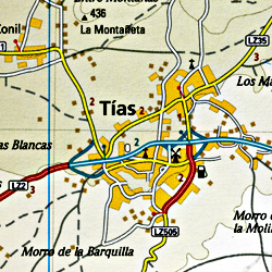 Lanzarote Road and Topographic Tourist Map, Canary Islands, Spain.