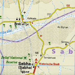 Libya Road and Topographic Tourist Map.