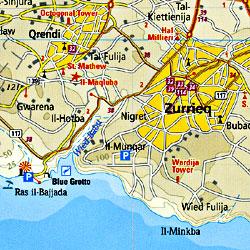 Malta, Road and Topographic Tourist Map, Mediterranean.