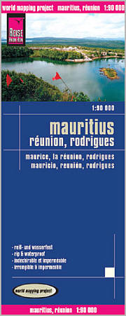 Mauritius Island, Reunion and Rodriquez Road and Topographic Tourist Map, Indian Ocean.