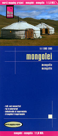 MONGOLIA Road and Topographic Tourist Map.