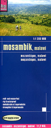 Mozambique and Malawi Road and Topographic Tourist Map.