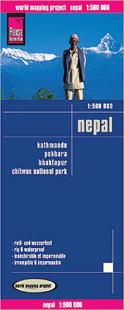 Nepal Road and Topographic Tourist Map.